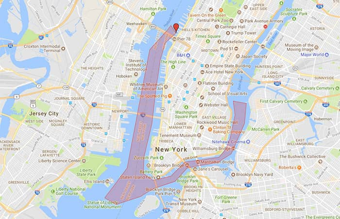 서클라인 뉴욕 하버 라이트 크루즈 - 노선