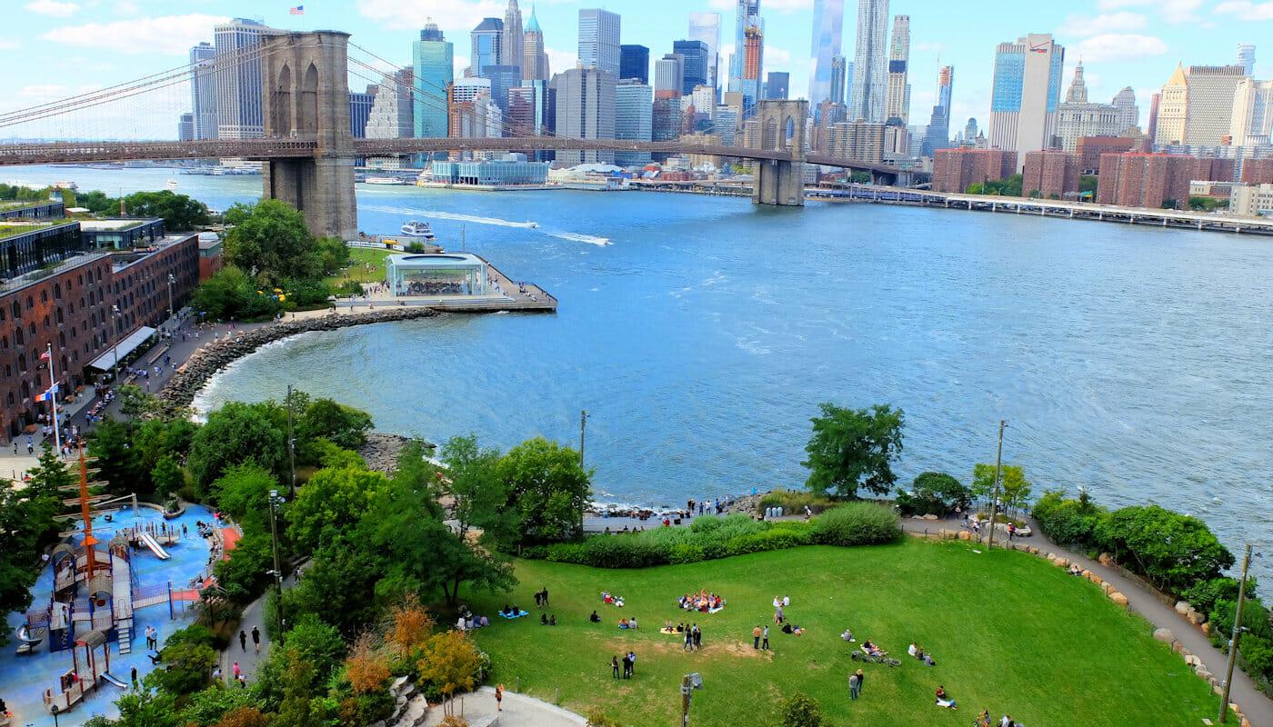 뉴욕 브루클린 브리지 파크 - 항공샷