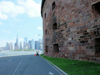 Governors Island in New York Skyline